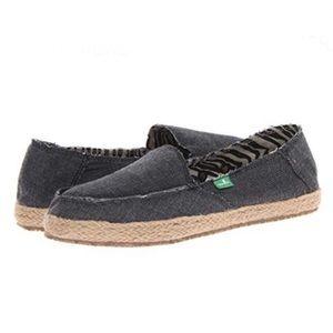 Sanuk Vegan Fiona Charcoal Slip On Flats Size 8